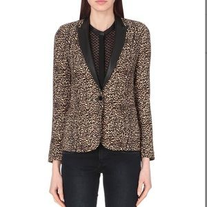 The Kooples leopard and leather blazer M